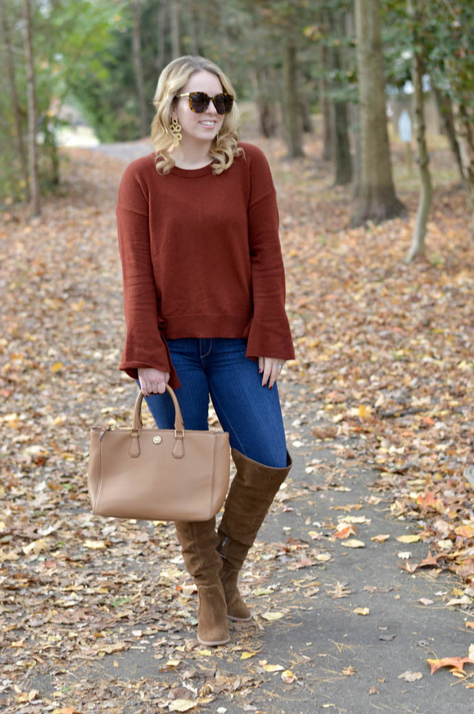 rust bell sleeve sweater