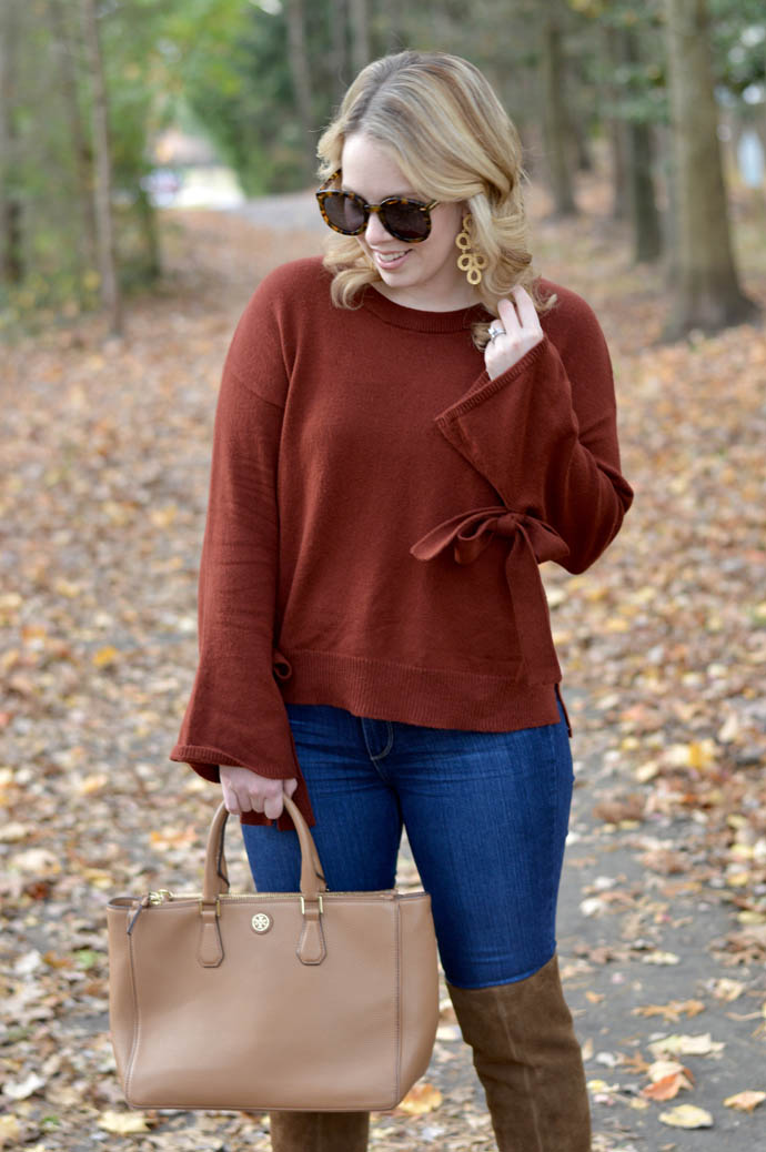 Rust Tie Cuff Sweater A Blonde S Moment