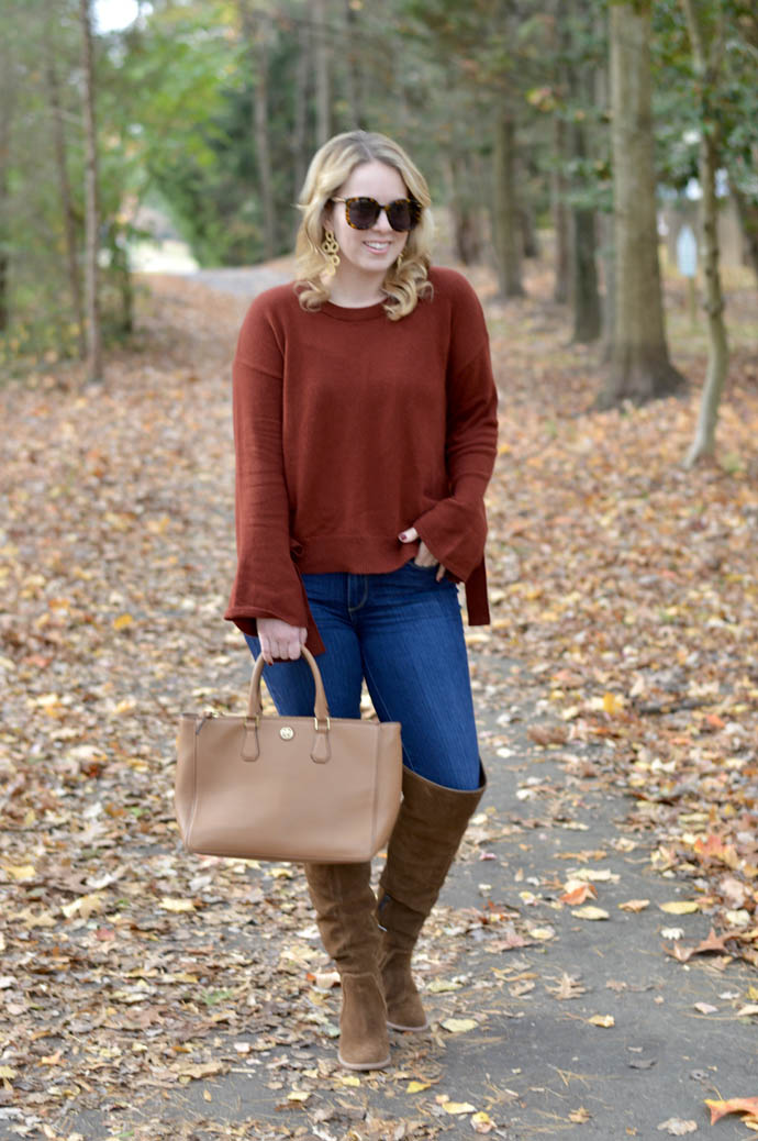 rust sweater with tie sleeves