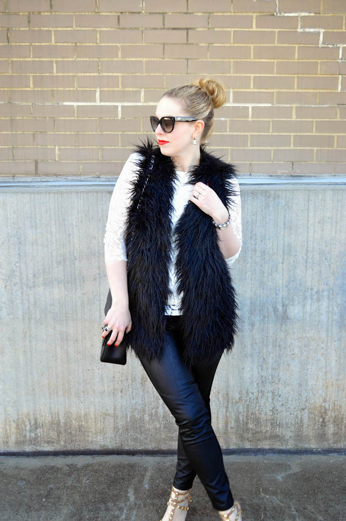 faux fur vest new year's eve outfit