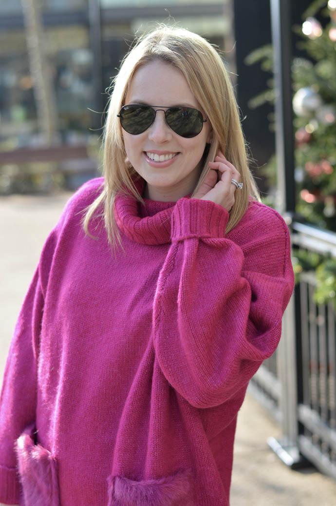fuschia turtleneck sweater