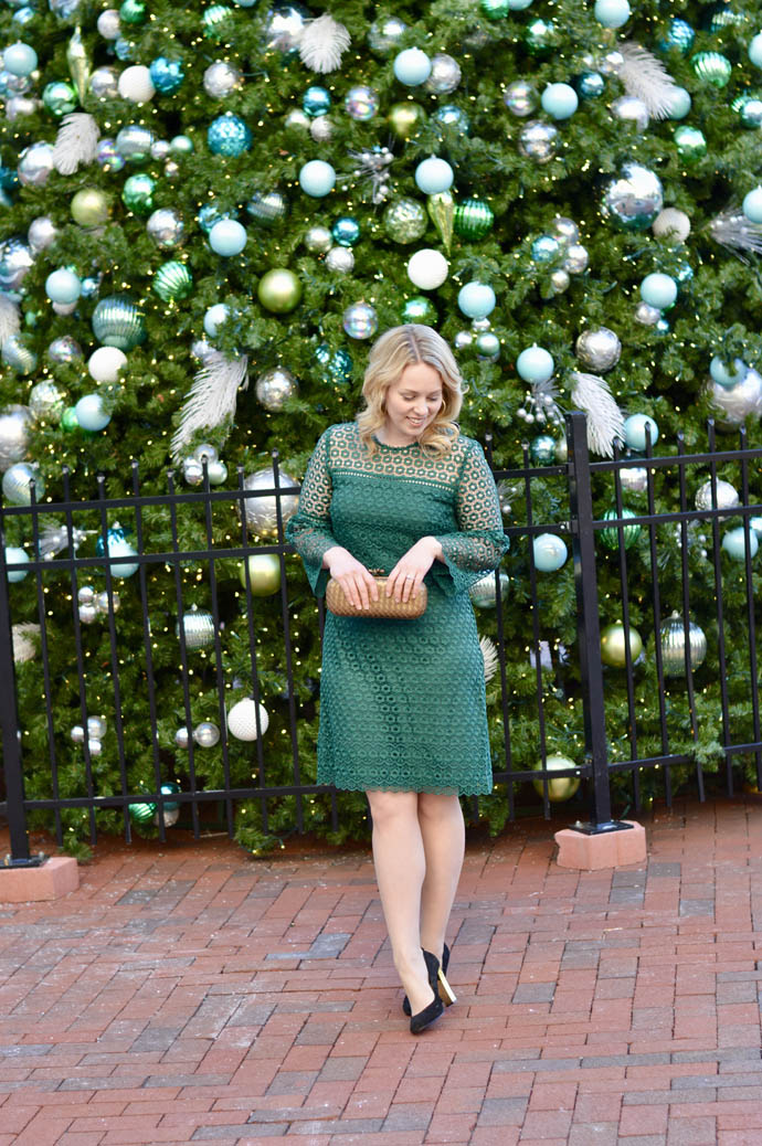 green lace dress christmas outfit