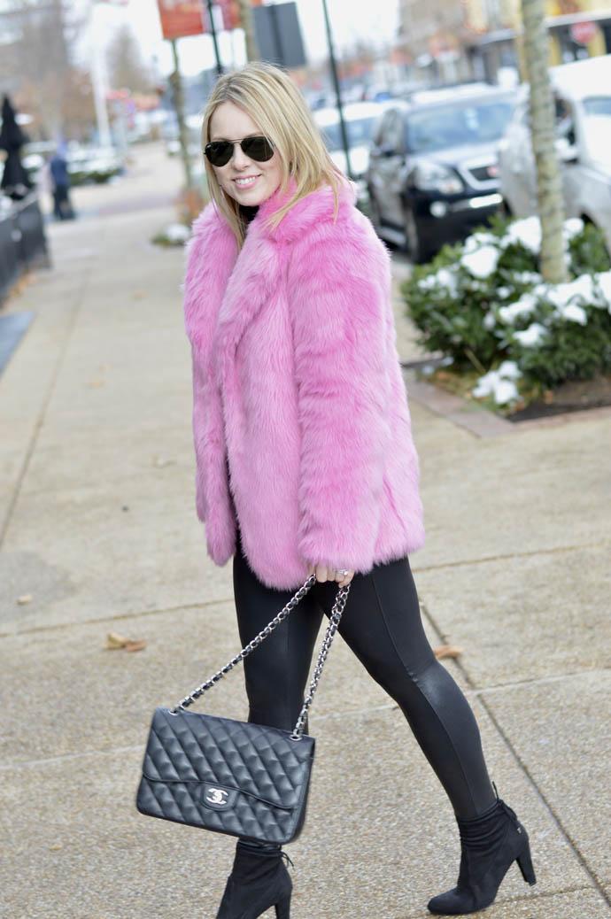 jcrew pink faux fur jacket