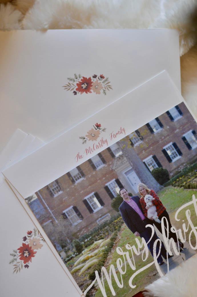 minted return address christmas cards