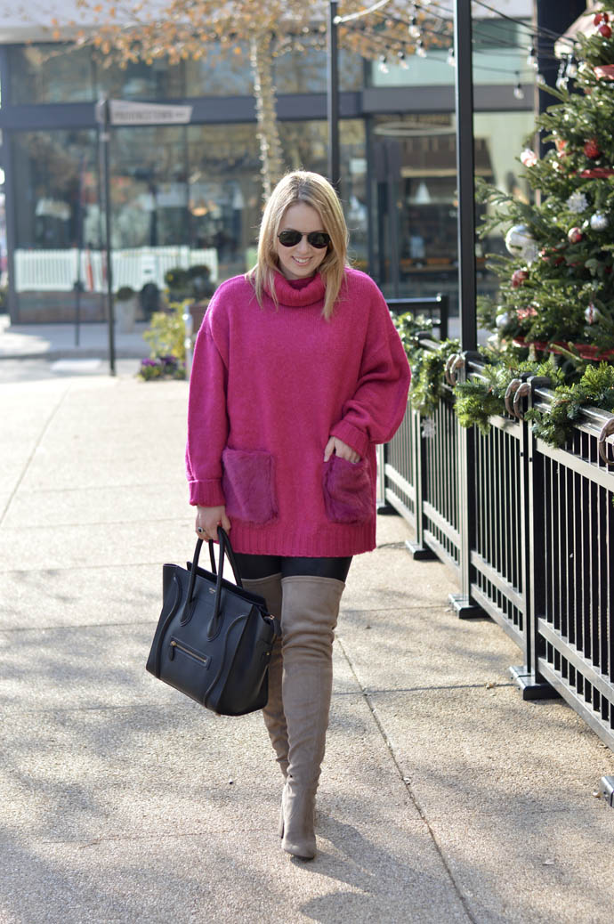 pink faux fur sweater