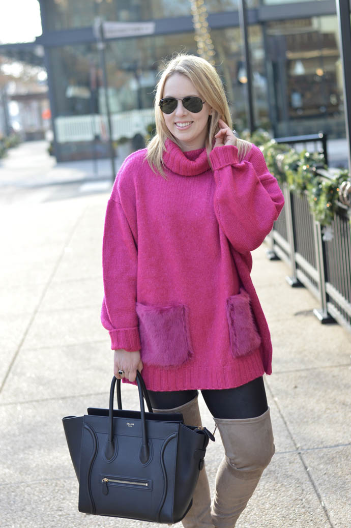 pink sweater faux fur pockets