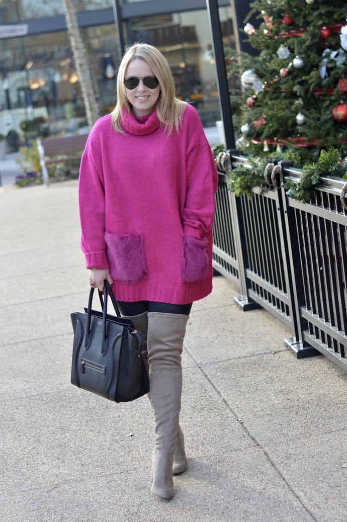pink sweater faux fur
