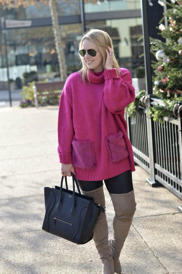 pink turtleneck sweater faux fur pockets