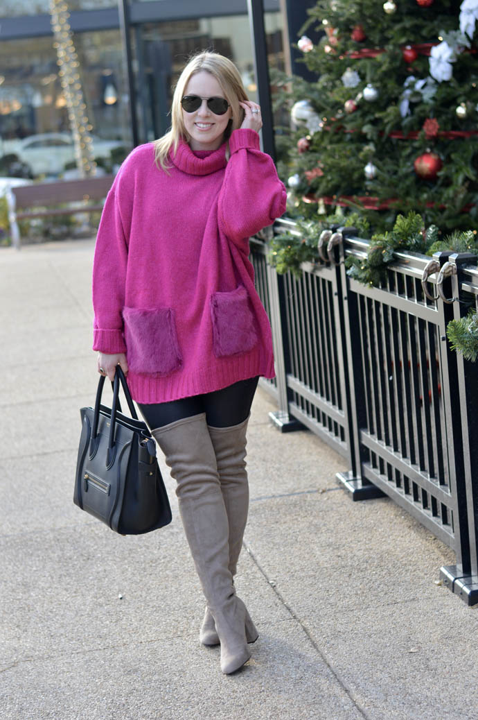 pink zara turtleneck sweater