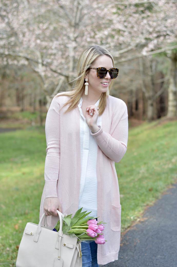 blush pink cardigan