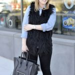 chambray shirt faux fur vest
