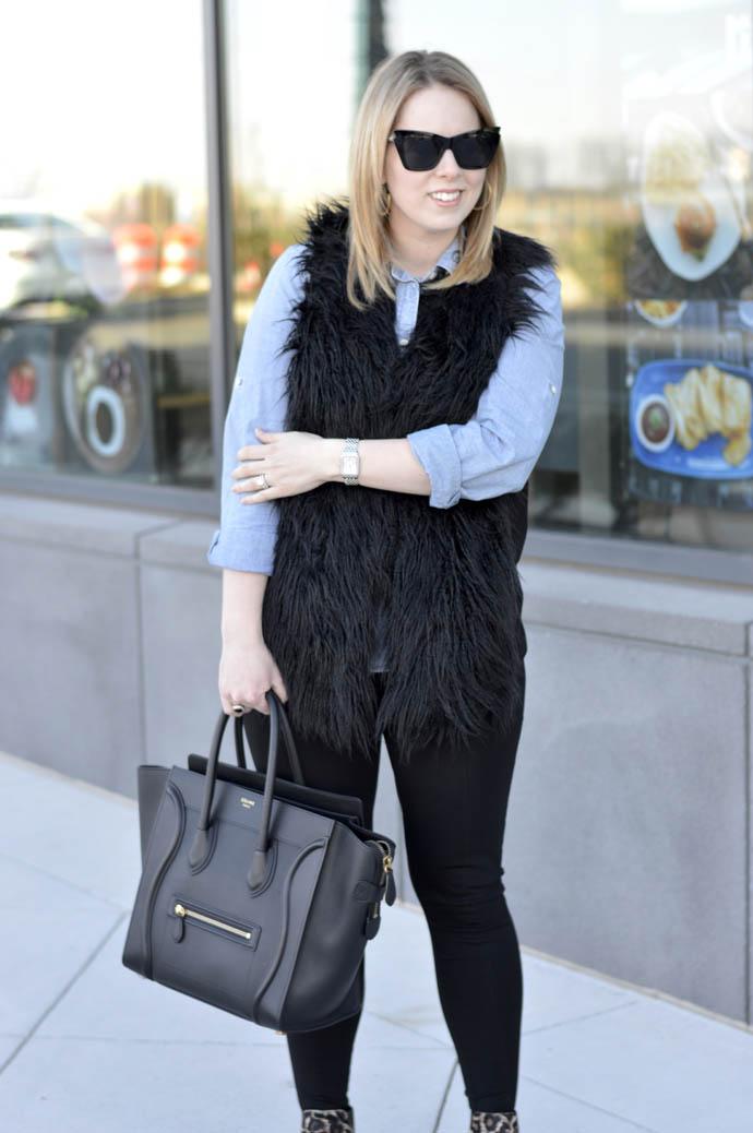 chambray shirt faux fur vest