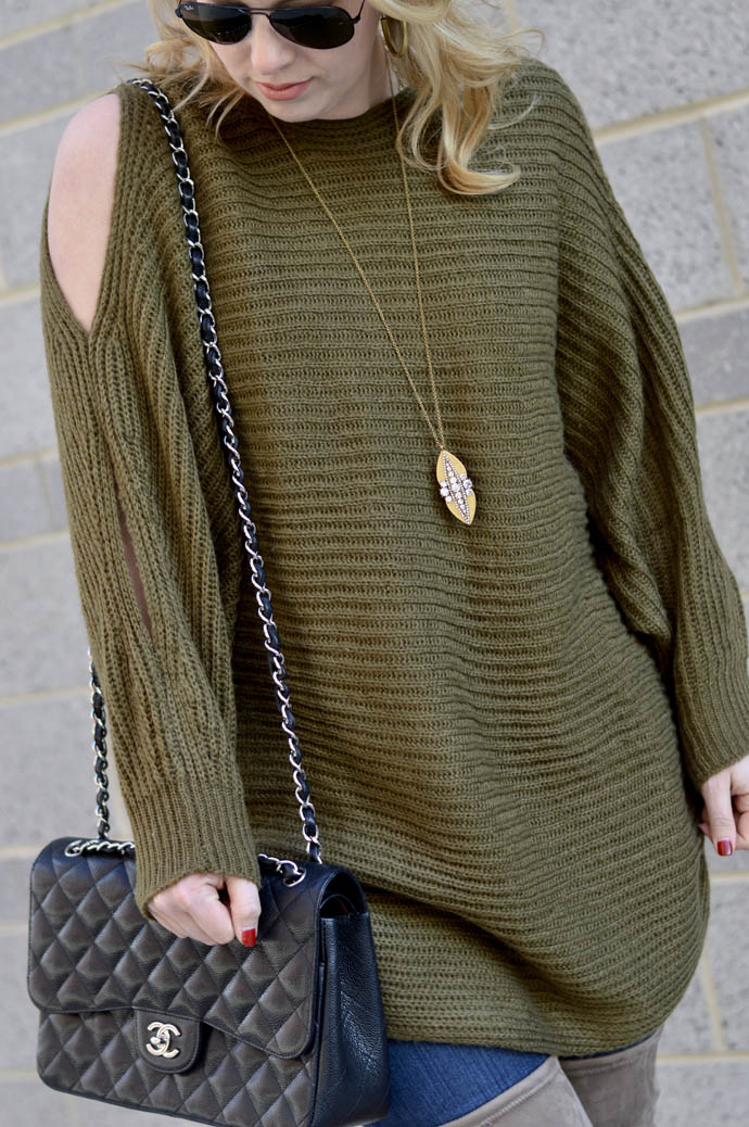 cozy olive green sweater