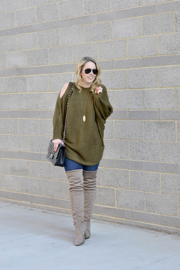 green cold shoulder sweater