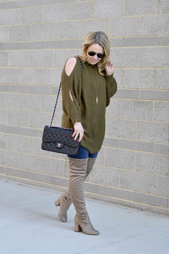 grey over the knee boots outfit