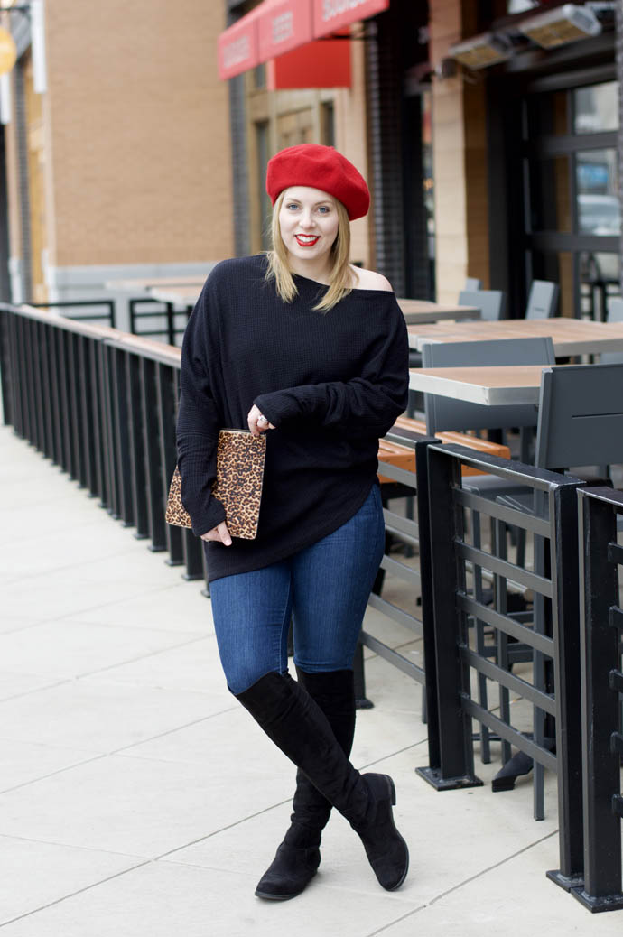 red beret outfit idea