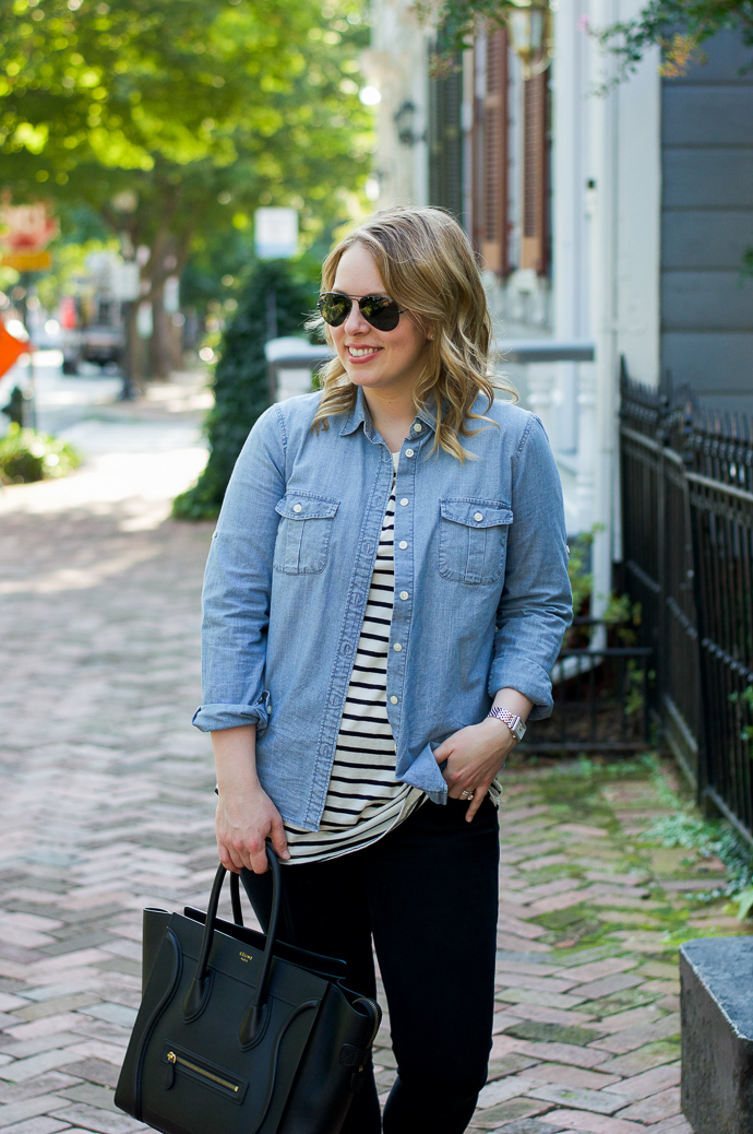 218b7ce77242 how to wear chambray and stripes. easy casual fall outfits